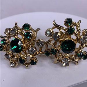 Vintage Coro green and clear rhinestone earrings